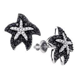 0.40 CTW Black Color Diamond Starfish Stud Earrings 10KT White Gold - REF-24Y2X