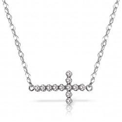 Genuine 0.18 ctw Diamond Anniversary Necklace Jewelry 14KT White Gold - REF-46A2K