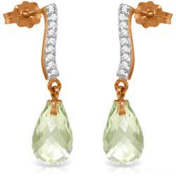 Genuine 4.78 ctw Green Amethyst & Diamond Earrings Jewelry 14KT Rose Gold - REF-46W2Y