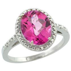 Natural 2.42 ctw Pink-topaz & Diamond Engagement Ring 10K White Gold - REF-25A5V