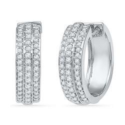 0.50 CTWDiamond Hoop Earrings 10KT White Gold - REF-48W7K