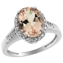 Natural 2.49 ctw Morganite & Diamond Engagement Ring 10K White Gold - REF-55F8N