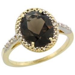 Natural 2.42 ctw Smoky-topaz & Diamond Engagement Ring 14K Yellow Gold - REF-34N7G