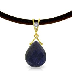 Genuine 7.81 ctw Sapphire & Diamond Necklace Jewelry 14KT Yellow Gold - REF-65T6A