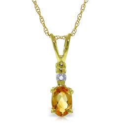 Genuine 0.46 ctw Citrine & Diamond Necklace Jewelry 14KT Yellow Gold - REF-21H6X