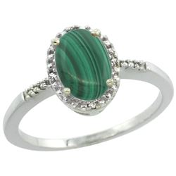 Natural 1.67 ctw Malachite & Diamond Engagement Ring 10K White Gold - REF-15G9M