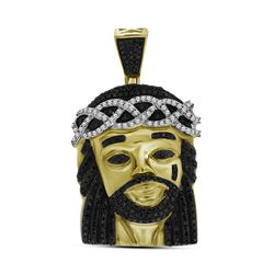 1 CTW Polished Black Color Diamond Mens Jesus Christ Pendant 10KT Yellow Gold - REF-75N2F