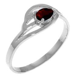 Genuine 0.30 CTW Garnet Ring Jewelry 14KT White Gold - REF-30N5R
