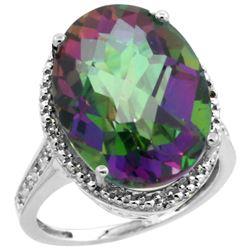 Natural 13.6 ctw Mystic-topaz & Diamond Engagement Ring 14K White Gold - REF-75V6F