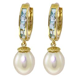 Genuine 9.3 ctw Aquamarine & Pearl Earrings Jewelry 14KT Yellow Gold - REF-45W7Y