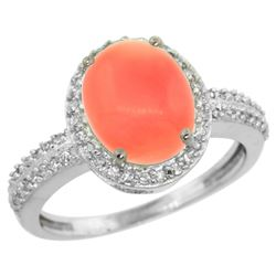 Natural 2.56 ctw Coral & Diamond Engagement Ring 10K White Gold - REF-30N8G