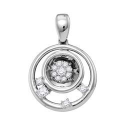 0.13 CTW Diamond Circle Cluster Pendant 10KT White Gold - REF-19H4M