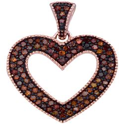 0.25 CTW Red Color Diamond Heart Love Pendant 10KT Rose Gold - REF-28N4F