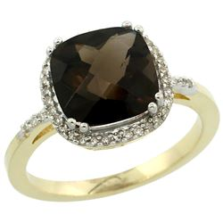 Natural 4.11 ctw Smoky-topaz & Diamond Engagement Ring 10K Yellow Gold - REF-34G3M