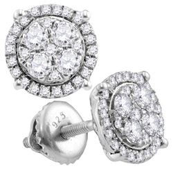 0.50 CTWDiamond Circle Cluster Earrings 10KT White Gold - REF-37K5W