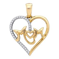0.10 CTW Diamond Mom Mother Heart Pendant 10KT Yellow Gold - REF-16H4M