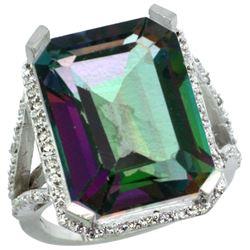 Natural 13.72 ctw Mystic-topaz & Diamond Engagement Ring 14K White Gold - REF-81K3R