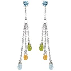 Genuine 5.75 ctw Blue Topaz Earrings Jewelry 14KT White Gold - REF-45Z2N