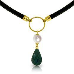 Genuine 10.80 ctw Green Sapphire Corundum & Pearl Necklace Jewelry 14KT Yellow Gold - REF-64W4Y