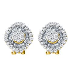 1.5 CTW Diamond Square Cluster French-clip Earrings 14KT Yellow Gold - REF-101X9Y