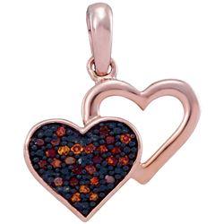 0.08 CTW Red Color Diamond Heart Love Pendant 10KT Rose Gold - REF-10F5N