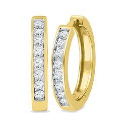 0.50 CTWDiamond Hoop Earrings 10KT Yellow Gold - REF-49K5W