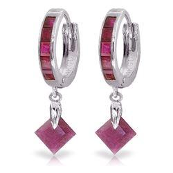 Genuine 3.7 ctw Ruby Earrings Jewelry 14KT White Gold - REF-60M3T