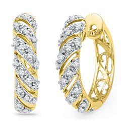 0.16 CTW Diamond Diagonal Hoop Earrings 10KT Yellow Gold - REF-22F4N