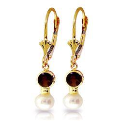Genuine 5.2 ctw Garnet & Pearl Earrings Jewelry 14KT Yellow Gold - REF-35W9Y