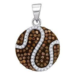 0.45 CTW Cognac-brown Color Diamond Circle Cluster Pendant 10KT White Gold - REF-20K9W