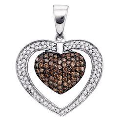0.99 CTW Cognac-brown Color Diamond Double Heart Pendant 10KT White Gold - REF-43K4W