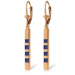 Genuine 0.70 ctw Sapphire Earrings Jewelry 14KT Rose Gold - REF-56H9X