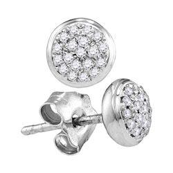 0.09 CTW Diamond Cluster Screwback Earrings 10KT White Gold - REF-11Y2X
