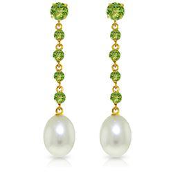 Genuine 10 ctw Peridot & Pearl Earrings Jewelry 14KT White Gold - REF-32R4P