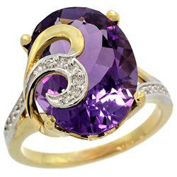Natural 11.18 ctw amethyst & Diamond Engagement Ring 14K Yellow Gold - REF-82V2F