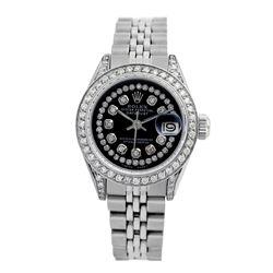 Rolex Pre-owned 26mm Womens Custom Black String Diamonds Stainless Steel - REF-510N3H