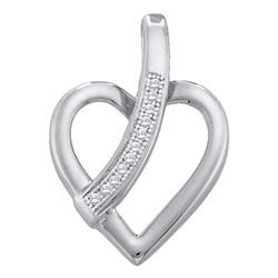 0.03 CTW Diamond Heart Love Pendant 10KT White Gold - REF-8X9Y