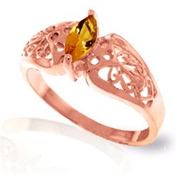 Genuine 0.20 CTW Citrine Ring Jewelry 14KT Rose Gold - REF-47X2M