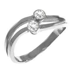 Genuine 0.20 ctw Diamond Anniversary Ring Jewelry 14KT White Gold - REF-63W3Y