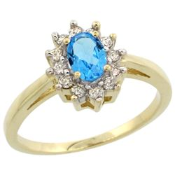 Natural 0.67 ctw Swiss-blue-topaz & Diamond Engagement Ring 14K Yellow Gold - REF-48K6R