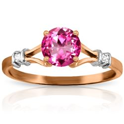 Genuine 1.02 ctw Pink Topaz & Diamond Ring Jewelry 14KT Rose Gold - REF-28W5Y