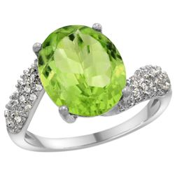 Natural 5.08 ctw peridot & Diamond Engagement Ring 14K White Gold - REF-60V3F