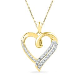0.10 CTW Diamond Heart Outline Pendant 10KT Yellow Gold - REF-18M2H