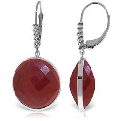 Genuine 46.15 ctw Ruby & Diamond Earrings Jewelry 14KT White Gold - REF-78R3P