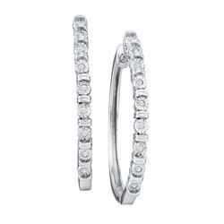 0.05 CTW Diamond Single Row Hoop Earrings 10KT White Gold - REF-20H9M
