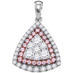 0.98 CTW Pink Diamond Triangle Cluster Pendant 14KT White Gold - REF-134W9K