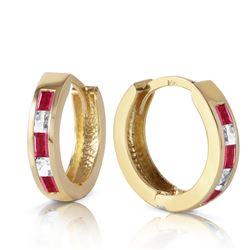 Genuine 1.26 ctw Ruby & White Topaz Earrings Jewelry 14KT Yellow Gold - REF-39V3W