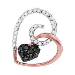 0.25 CTW Black Color Diamond Heart Love Pendant 10KT Rose Gold - REF-14H9M