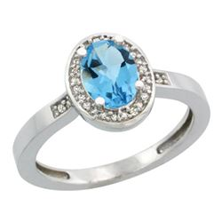 Natural 1.08 ctw Swiss-blue-topaz & Diamond Engagement Ring 14K White Gold - REF-31K3R