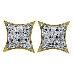 0.25 CTW Diamond Square Kite Cluster Earrings 10KT Yellow Gold - REF-20H3M